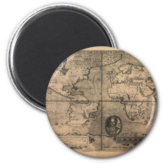 Mapa del mundo antiguo 1581 de Nicola van Sype Imanes De Nevera