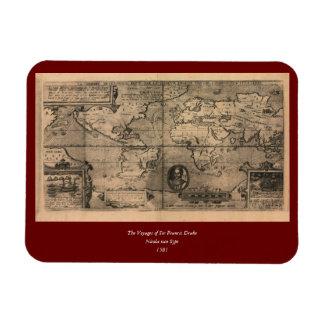 Mapa del mundo antiguo 1581 de Nicola van Sype Imanes Flexibles
