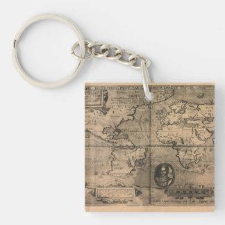 Mapa del mundo antiguo 1581 de Nicola van Sype Llavero Cuadrado Acrílico A Doble Cara