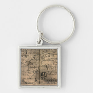 Mapa del mundo antiguo 1581 de Nicola van Sype Llavero Cuadrado Plateado