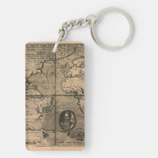 Mapa del mundo antiguo 1581 de Nicola van Sype Llavero Rectangular Acrílico A Doble Cara