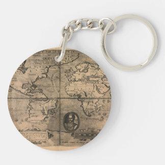 Mapa del mundo antiguo 1581 de Nicola van Sype Llavero Redondo Acrílico A Doble Cara