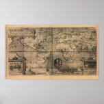 Mapa del mundo antiguo 1581 de Nicola van Sype Poster