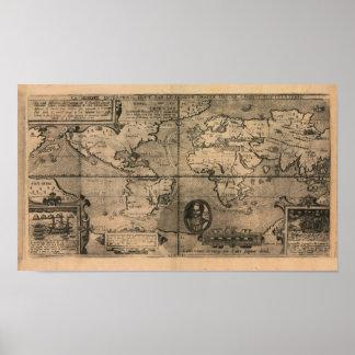 Mapa del mundo antiguo 1581 de Nicola van Sype Póster