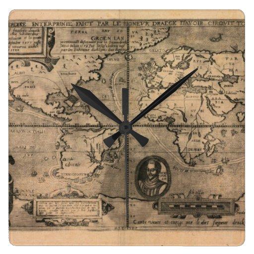 Mapa del mundo antiguo 1581 de Nicola van Sype Reloj