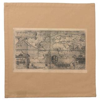 Mapa del mundo antiguo 1581 de Nicola van Sype Servilleta Imprimida