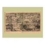 Mapa del mundo antiguo 1581 de Nicola van Sype Postal