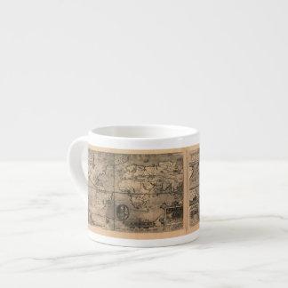 Mapa del mundo antiguo 1581 de Nicola van Sype Taza Espresso