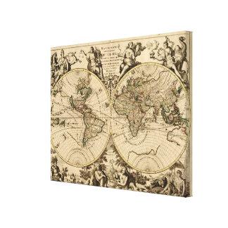 Mapa del mundo antiguo, 1694, por Alexis Huberto J Impresión En Lienzo Estirada