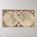 Mapa del mundo antiguo, 1799 (cocina de Thomas) Posters