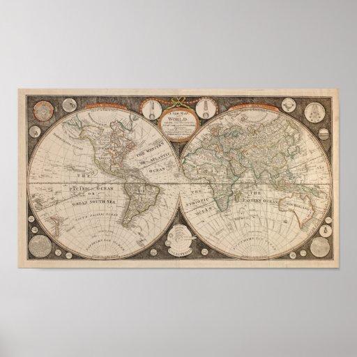 Mapa del mundo antiguo, 1799 (cocina de Thomas) Póster