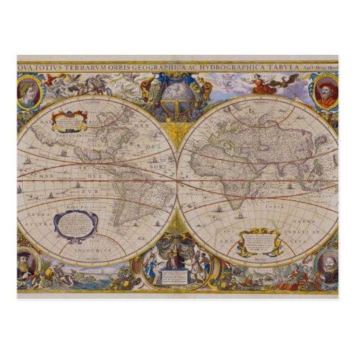 Mapa del mundo antiguo 2 postales