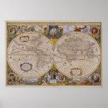Mapa del mundo antiguo 2 poster