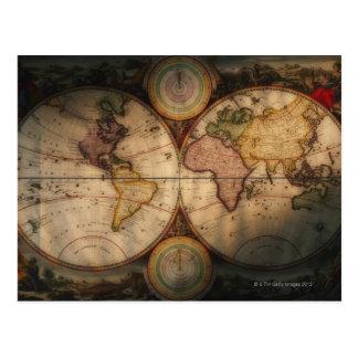 Mapa del mundo antiguo 2 postal
