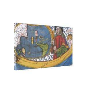 Mapa del mundo antiguo; Amerigo Vespucci Lona Envuelta Para Galerías