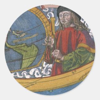 Mapa del mundo antiguo; Amerigo Vespucci Pegatina Redonda