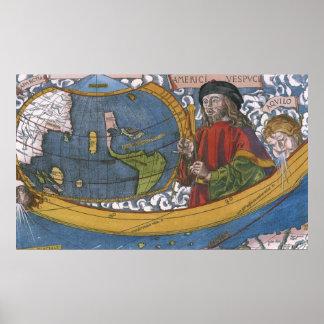 Mapa del mundo antiguo; Amerigo Vespucci Póster