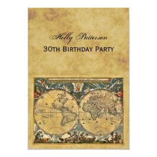 """Mapa del mundo antiguo, apenado cumpleaños de BG V Invitación 5"""" X 7"""""""
