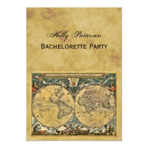 Mapa del mundo antiguo, BG apenada V Bachelorette Invitación 12,7 X 17,8 Cm