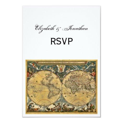 """Mapa del mundo antiguo, BG blanca RSVP Invitación 3.5"""" X 5"""""""