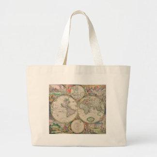 Mapa del mundo antiguo bolsa tela grande