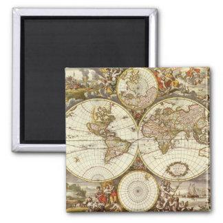 Mapa del mundo antiguo, C. 1680. Por Frederick de Imán Cuadrado