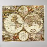 Mapa del mundo antiguo, C. 1680. Por Frederick de  Impresiones