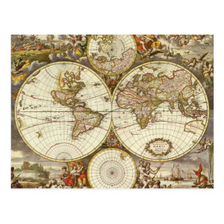 Mapa del mundo antiguo, C. 1680. Por Frederick de Postales