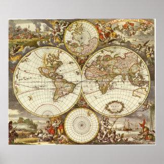 Mapa del mundo antiguo, C. 1680. Por Frederick de Póster