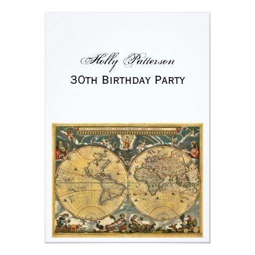"""Mapa del mundo antiguo, cumpleaños blanco de BG V Invitación 5"""" X 7"""""""