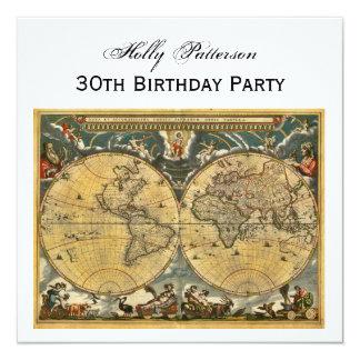 """Mapa del mundo antiguo, cumpleaños SQ blanco de BG Invitación 5.25"""" X 5.25"""""""