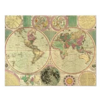 """Mapa del mundo antiguo de Carington Bowles, circa Invitación 4.25"""" X 5.5"""""""