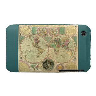 Mapa del mundo antiguo de Carington Bowles, circa iPhone 3 Case-Mate Carcasas