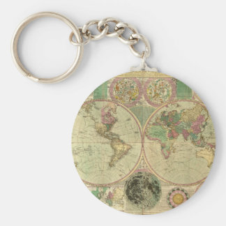 Mapa del mundo antiguo de Carington Bowles, circa Llavero Redondo Tipo Pin