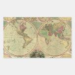 Mapa del mundo antiguo de Carington Bowles, circa Pegatina Rectangular
