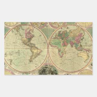 Mapa del mundo antiguo de Carington Bowles circa Rectangular Pegatinas