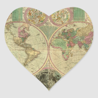 Mapa del mundo antiguo de Carington Bowles, circa Pegatina En Forma De Corazón