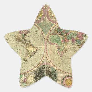 Mapa del mundo antiguo de Carington Bowles, circa Pegatina En Forma De Estrella