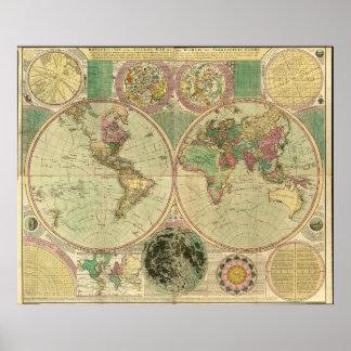Mapa del mundo antiguo de Carington Bowles, circa Póster