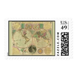 Mapa del mundo antiguo de Carington Bowles, circa Sellos