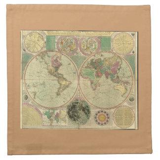 Mapa del mundo antiguo de Carington Bowles, circa  Servilletas
