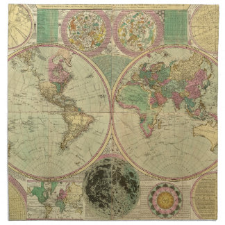 Mapa del mundo antiguo de Carington Bowles, circa  Servilleta De Papel
