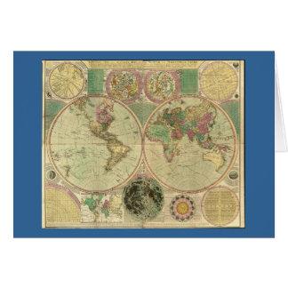 Mapa del mundo antiguo de Carington Bowles, circa Tarjeta De Felicitación