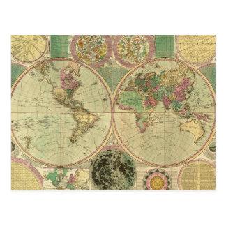 Mapa del mundo antiguo de Carington Bowles, circa Tarjetas Postales