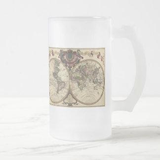Mapa del mundo antiguo de Guillaume de L'Isle, Jarra De Cerveza Esmerilada