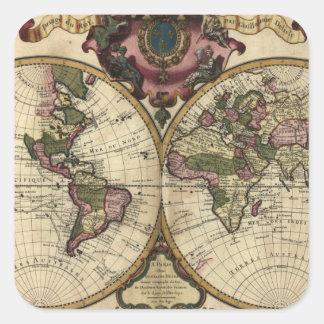 Mapa del mundo antiguo de Guillaume de L'Isle, Pegatina Cuadrada