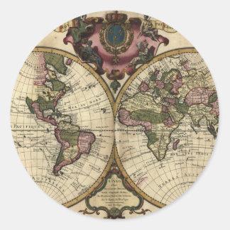 Mapa del mundo antiguo de Guillaume de L'Isle, Pegatina Redonda