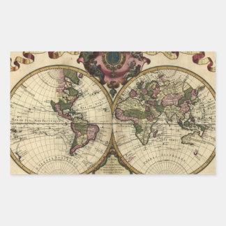 Mapa del mundo antiguo de Guillaume de L'Isle, Pegatina Rectangular