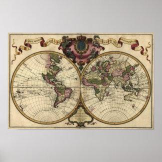 Mapa del mundo antiguo de Guillaume de L'Isle, Póster