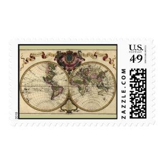 Mapa del mundo antiguo de Guillaume de L'Isle, Sello Postal